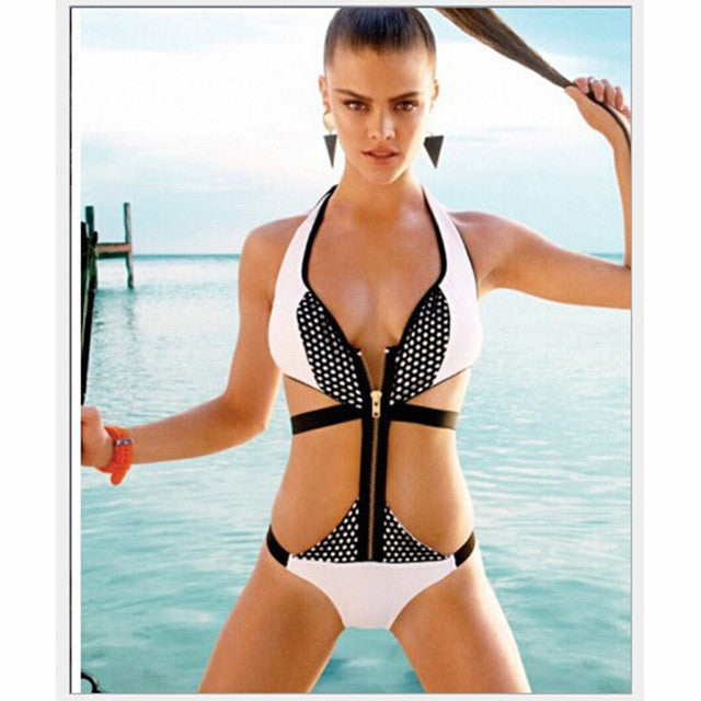 """Retro Halter Patchwork Zipper One-Piece Swimsuit"" - AH Boutique"