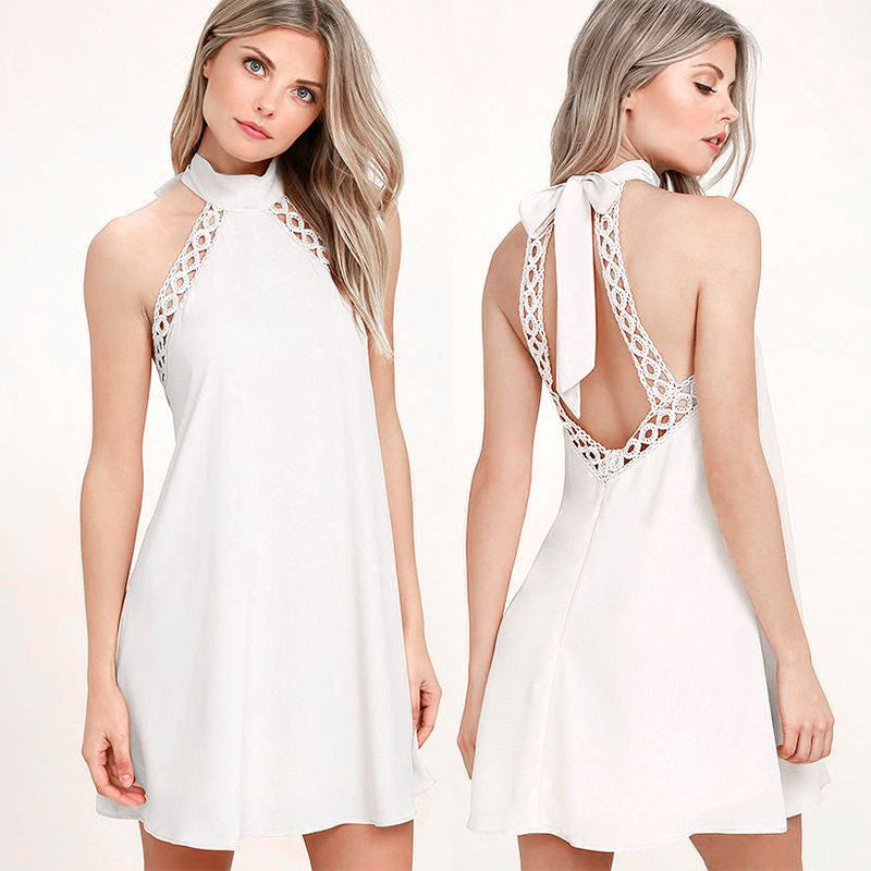 """Halter Backless Mini Dress"" 4 Colors - AH Boutique"