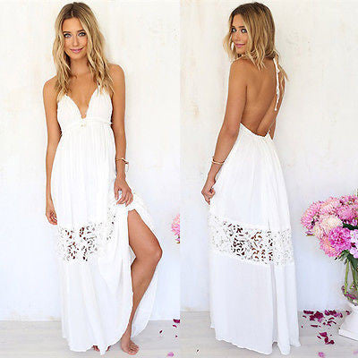 """White Lace Beach Backless Dress"" - AH Boutique"