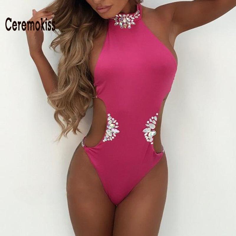 "'Crystaled Cutout Halter Backless Swimsuit"" (3 Color Choices) - AH Boutique"