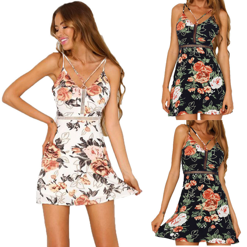 """Spaghetti Strap Floral Mini Dress"" (2 Color Choices) - AH Boutique"