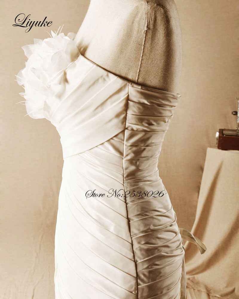 """Chic Tulle Strapless Mermaid Wedding Dress Court Train Lace Up Beading Appliques"" - AH Boutique"