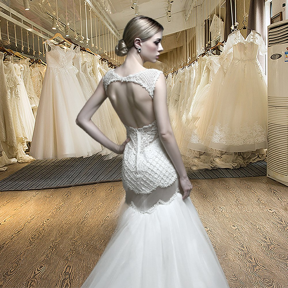"""Open Back Mermaid Wedding Dress"" - AH Boutique"