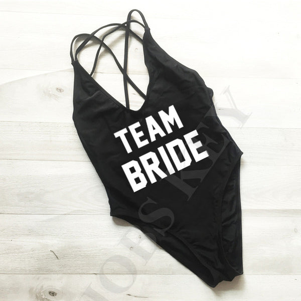 """Team Bride Bachelorette Swimsuit"" - AH Boutique"