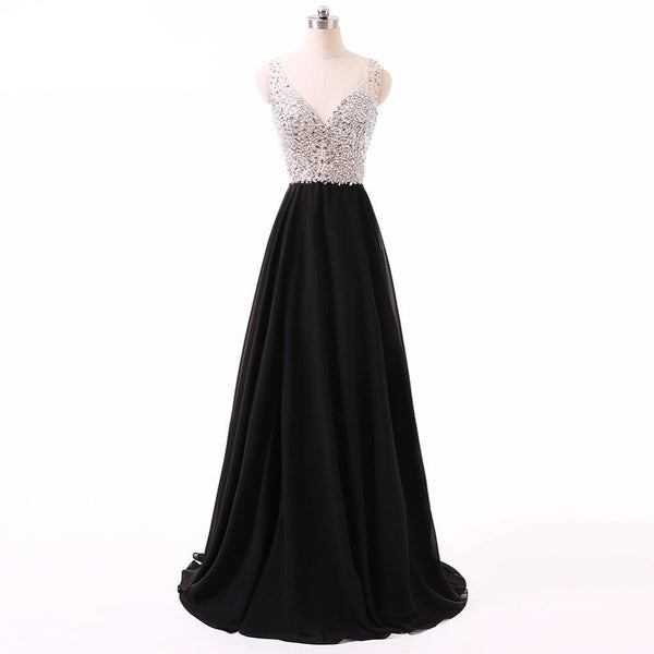 """Sleeveless V Neck Sparkling Chiffon Crystal Beaded Long Prom Dress"" (CUSTOMIZABLE) - AH Boutique"