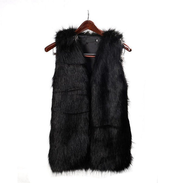 """Black Fur Vest"" (With Pockets) - AH Boutique"