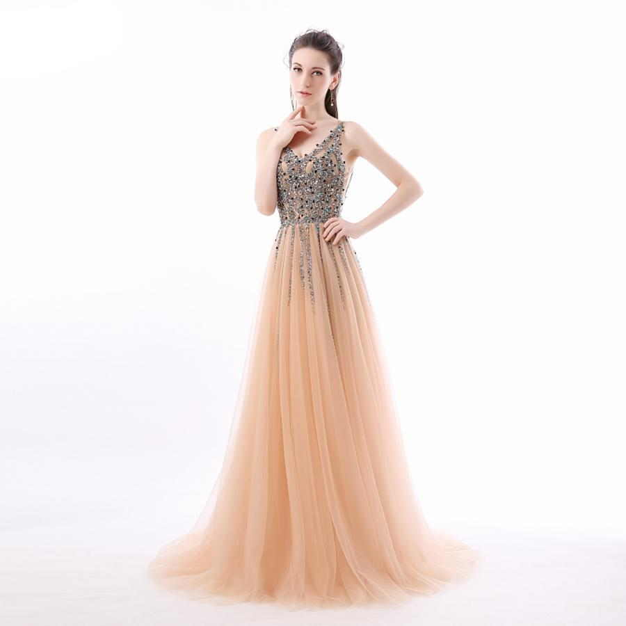 """V-Neck Sparkly Long Tulle Prom Gown"" (CUSTOMIZABLE) - AH Boutique"