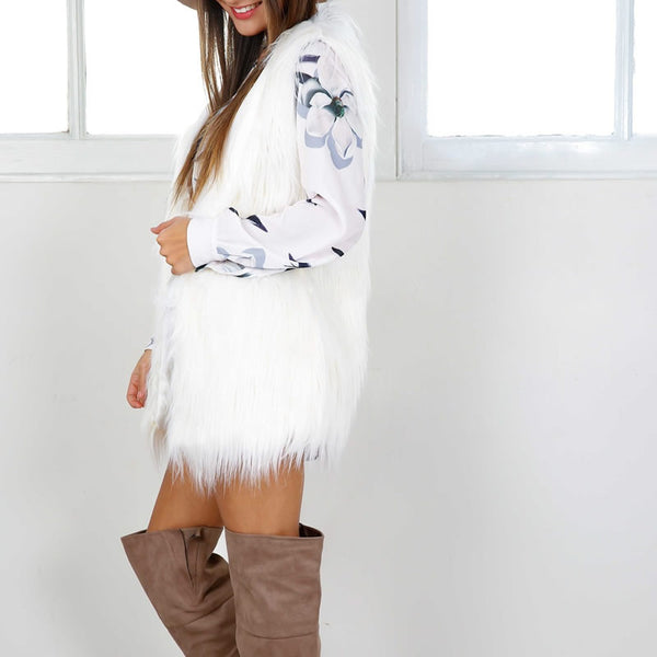 """Winter White Fur Vest"" - AH Boutique"