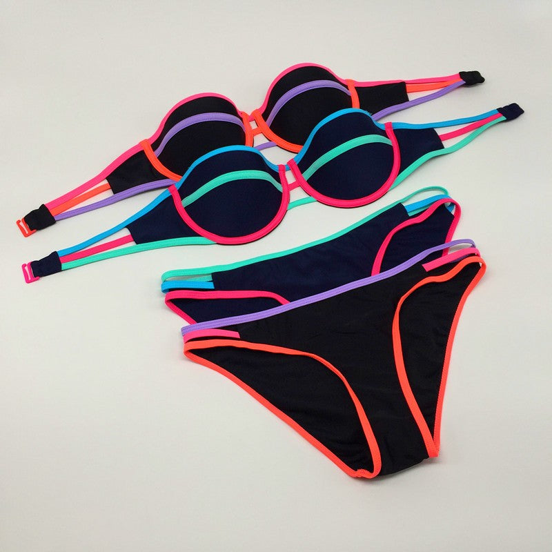 """The Colorful Edge Push Up Bikini"" - AH Boutique"