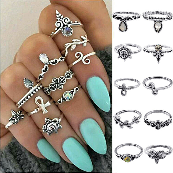 """The Bohemian Above Knuckle Vintage Silver 10 Piece Ring Set "" - AH Boutique"