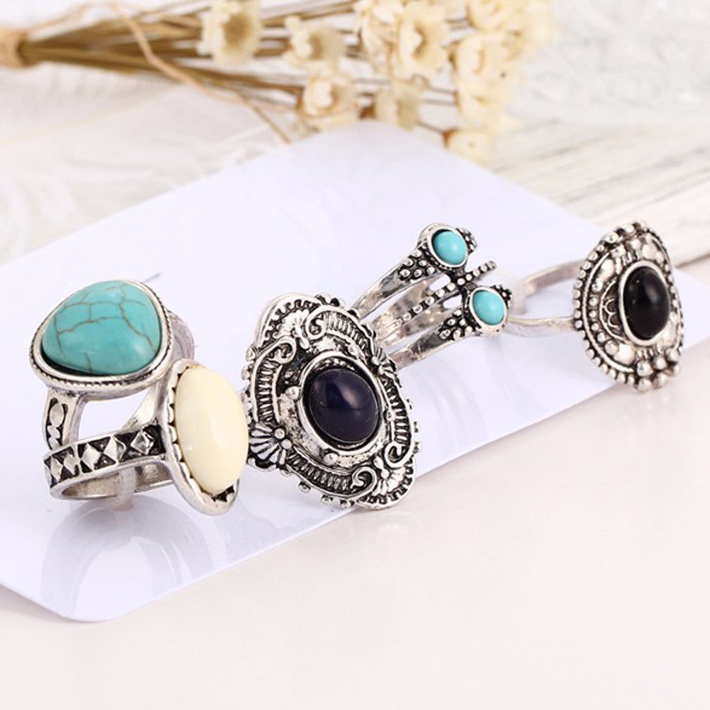 """Women Bohemian Above Knuckle Blue 5 Piece Rings Set"" - AH Boutique"