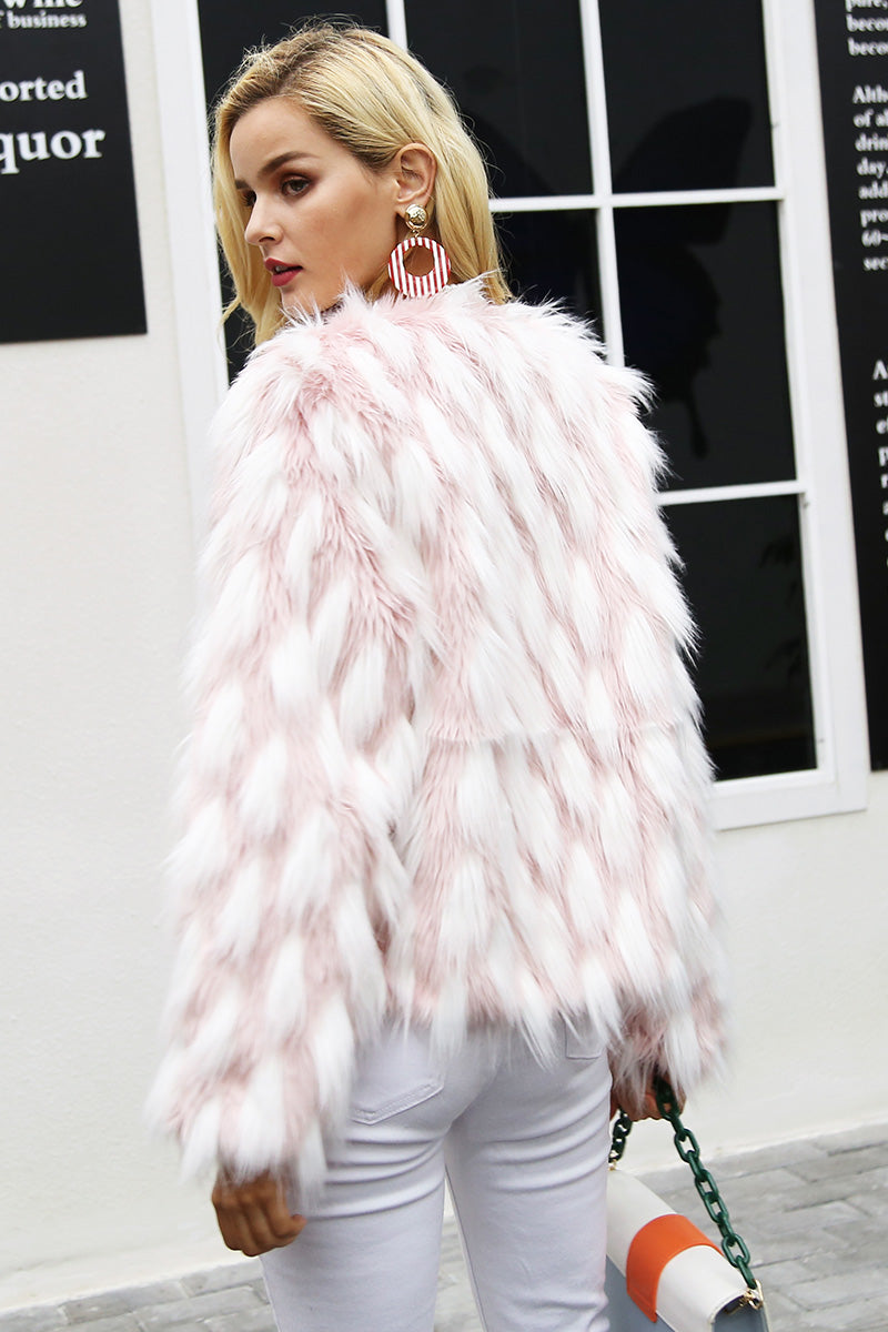 """Fluffy Chic Pink Faux Fur coat"" - AH Boutique"