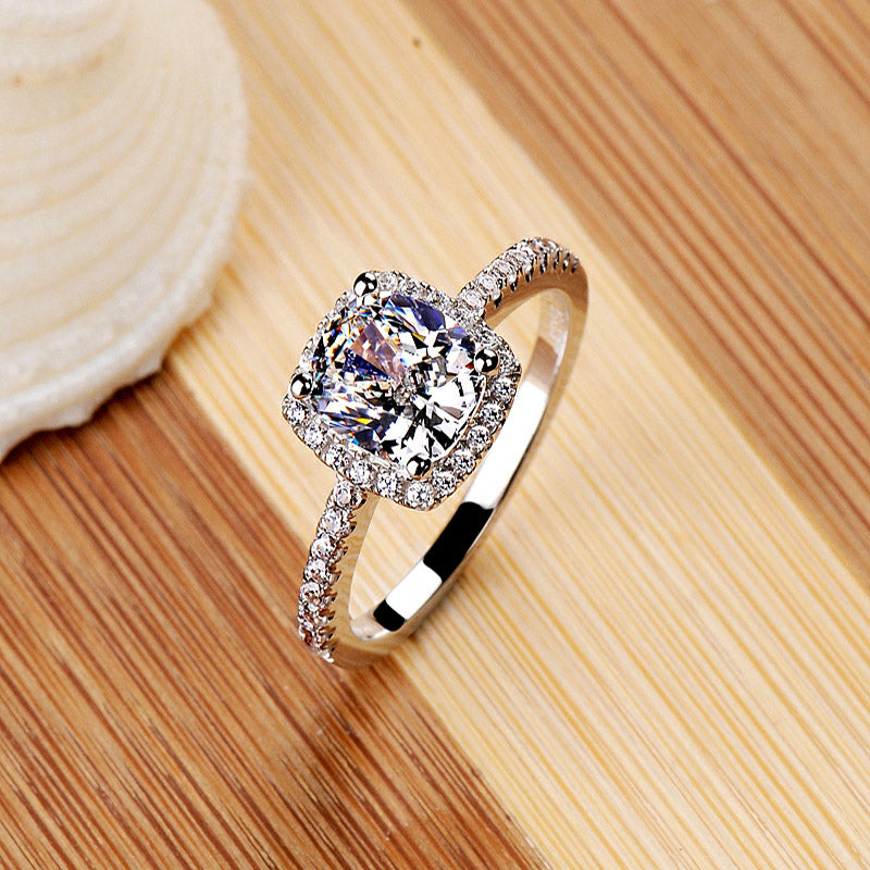 """925 Silver Plated Princess Cut Elegant Ring"" - AH Boutique"