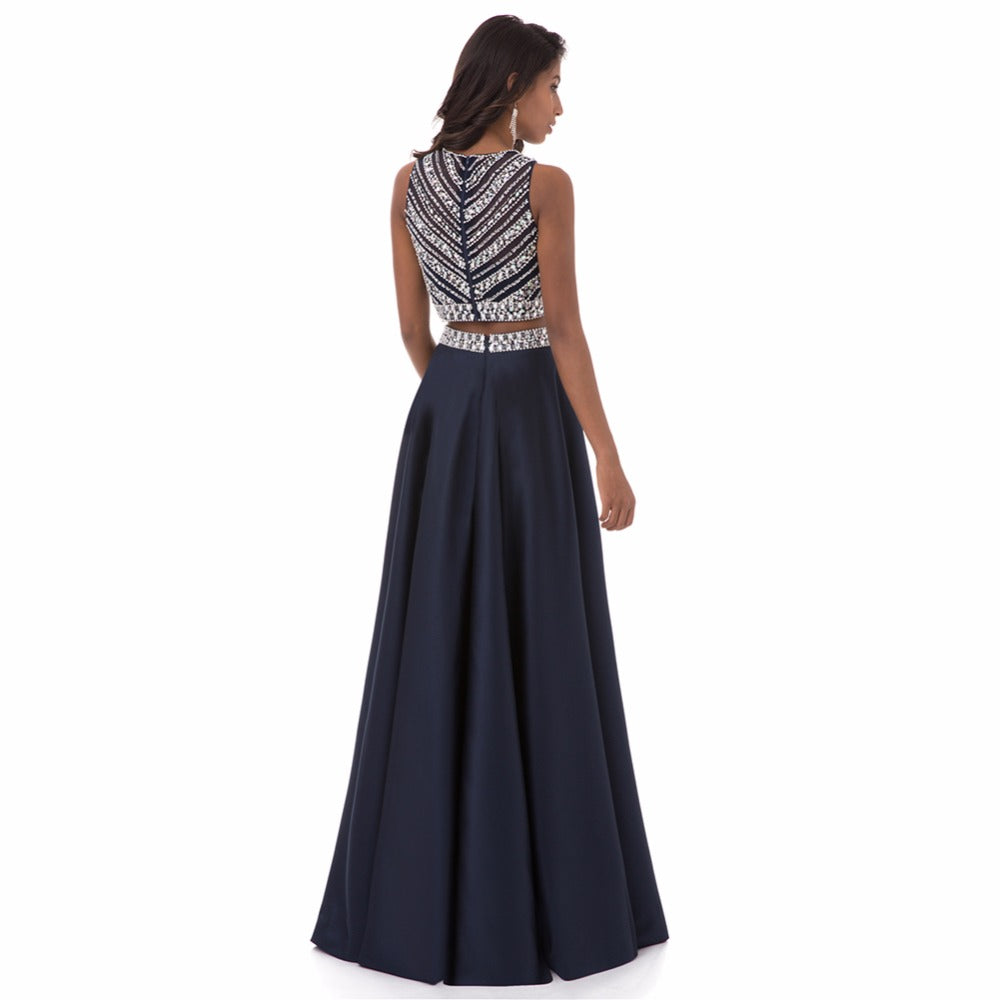 "Two Pieces Crystals Sleeveless Long Prom Dresses"" (CUSTOMIZABLE) - AH Boutique"