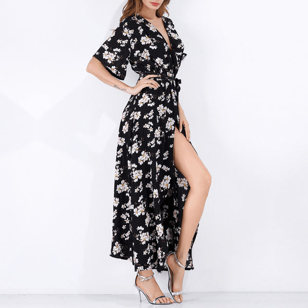 """Flowy Long Maxi Floral Dress"" - AH Boutique"