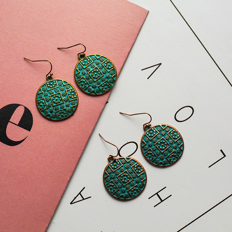 """Antique BOHO Teal Round Dangle"" (Brass or Copper) - AH Boutique"