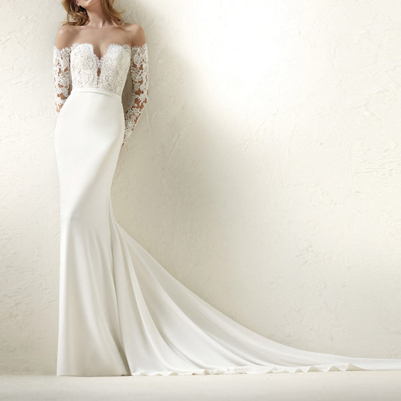 """White Strapless V-neck Mermaid With Illusion Lace Long Sleeve Bridal Gown"" - AH Boutique"