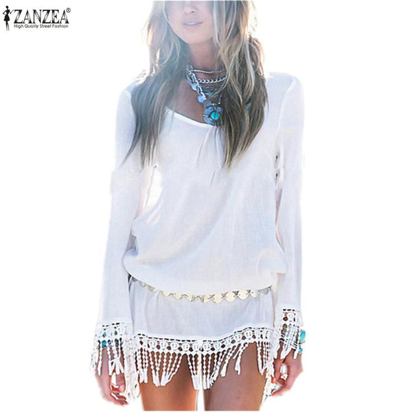 """Boho Mini"" Chiffon Swimsuit Cover Up Dress With Fringe White Or Black - AH Boutique"