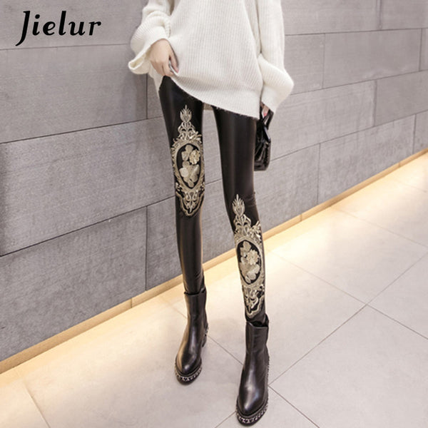 Faux Leather Lace Embroidery Fleece Lined Pencil Leggings - AH Boutique
