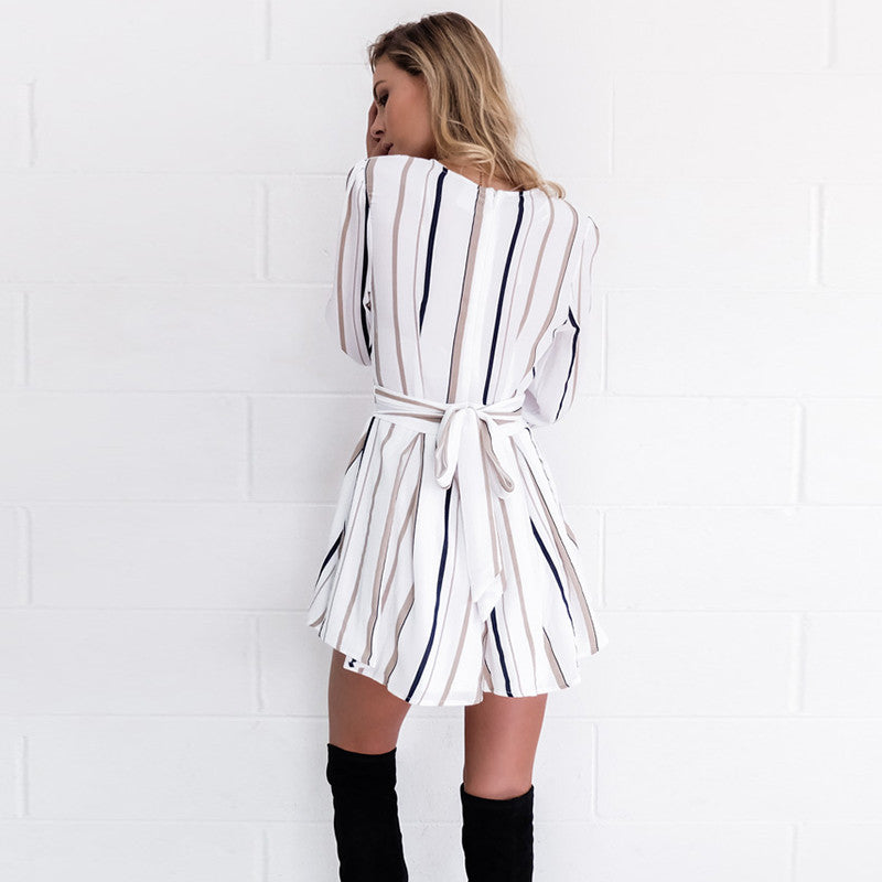 """Black and Brown Striped Romper"" - AH Boutique"