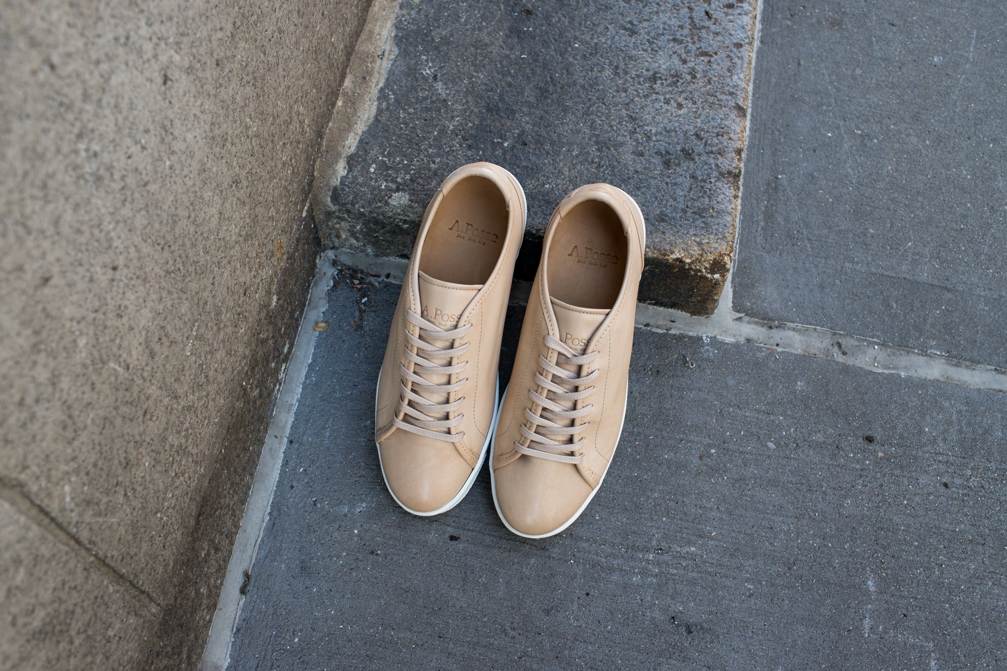 A.Posse Rivington (nude) dressy clean cream off-white tan leather luxury sneaker low top NYC Kith inspo