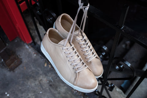 A.Posse Rivington (nude) dressy clean cream off-white tan leather luxury sneaker low top NYC Kith inspo chinatown