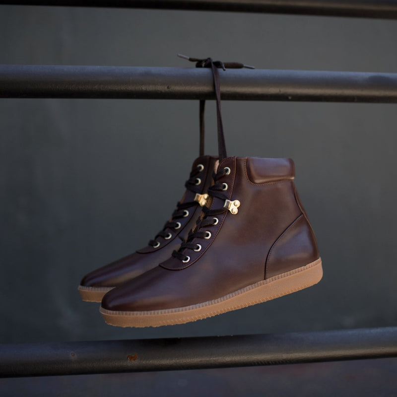 A.Posse Fulton (brown) luxury italian leather accessible luxury sneaker boot side view hanging