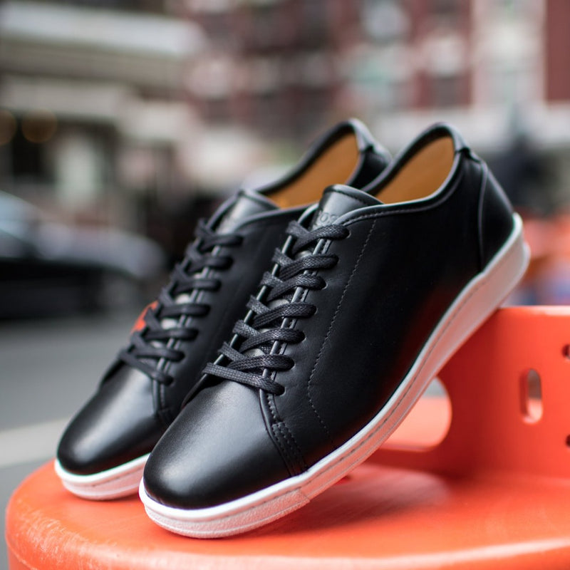 A.Posse Rivington (black) clean luxury leather sneakers NYC street view