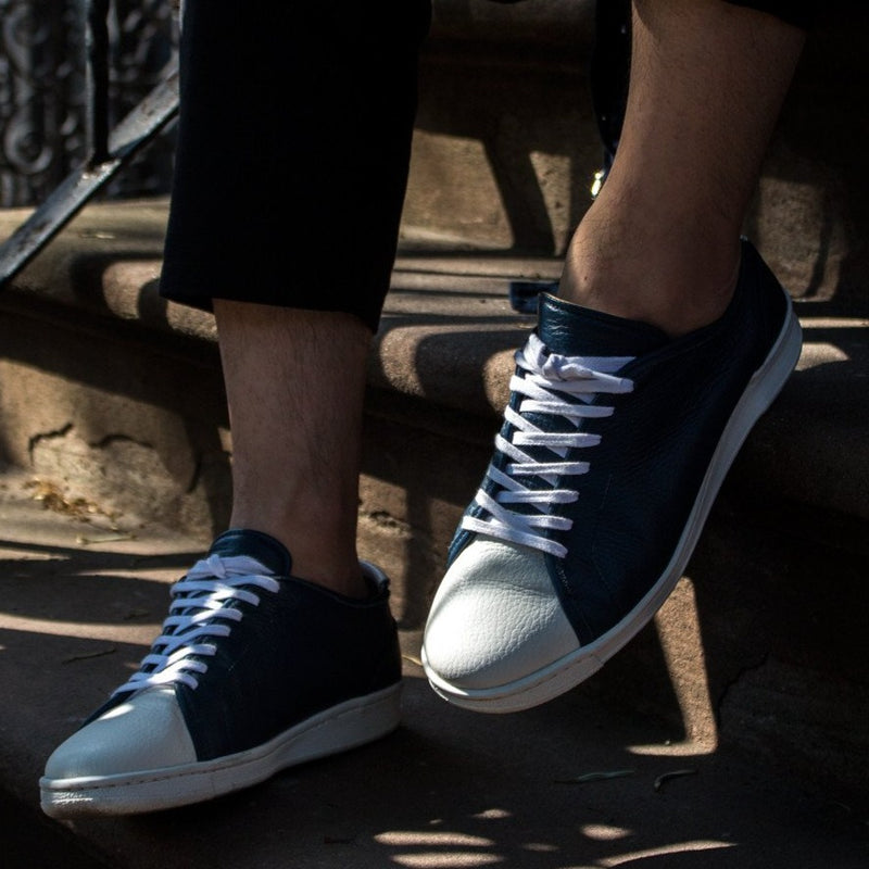 A.Posse Rivington (navy) dressy clean blue navy leather luxury sneaker low top NYC street view white toe