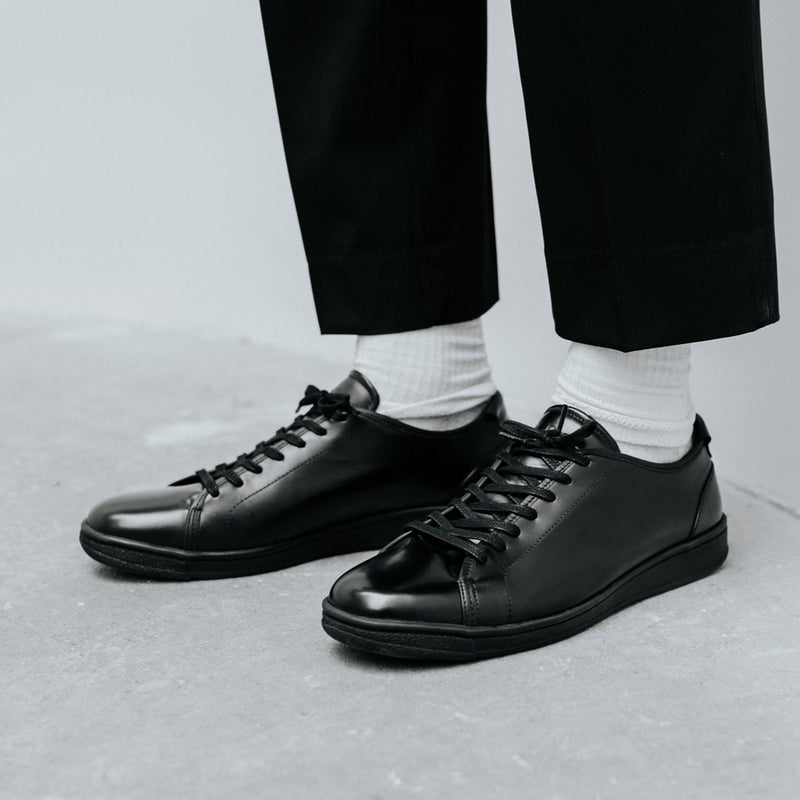 A.Posse Rivington (box) dressy clean shiny luxury sneaker low top black NYC Tanner Reese on foot