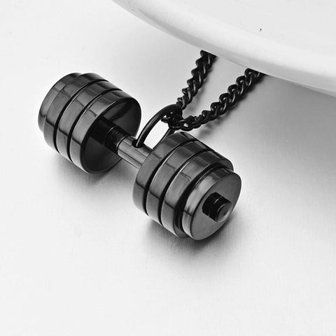 Black Dumbbell Necklace