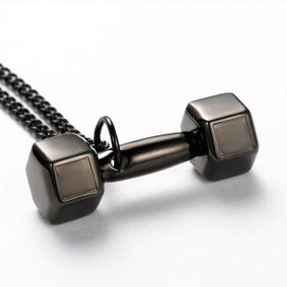 Black Dumbbell Necklace V2