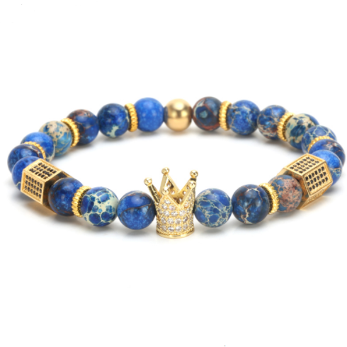 Gold / Globe Blue King Bracelet