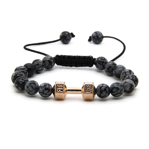 Rose Gold / Black Dumbbell Bracelet V2