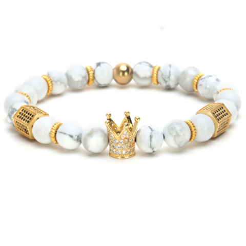 Gold / Pearl White King Bracelet