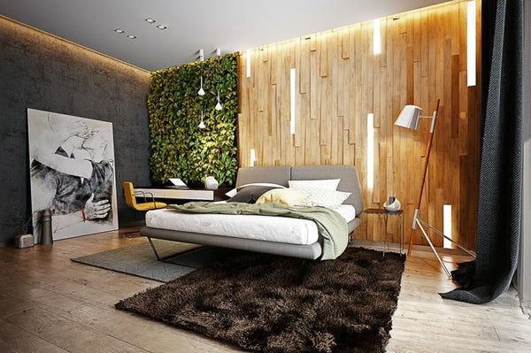Growup vertical farming | decorative vertical garden in main bedroom