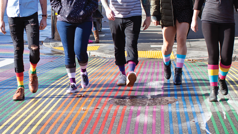 Walking alone, wearing with Pride. Socksmith & The Trevor Project
