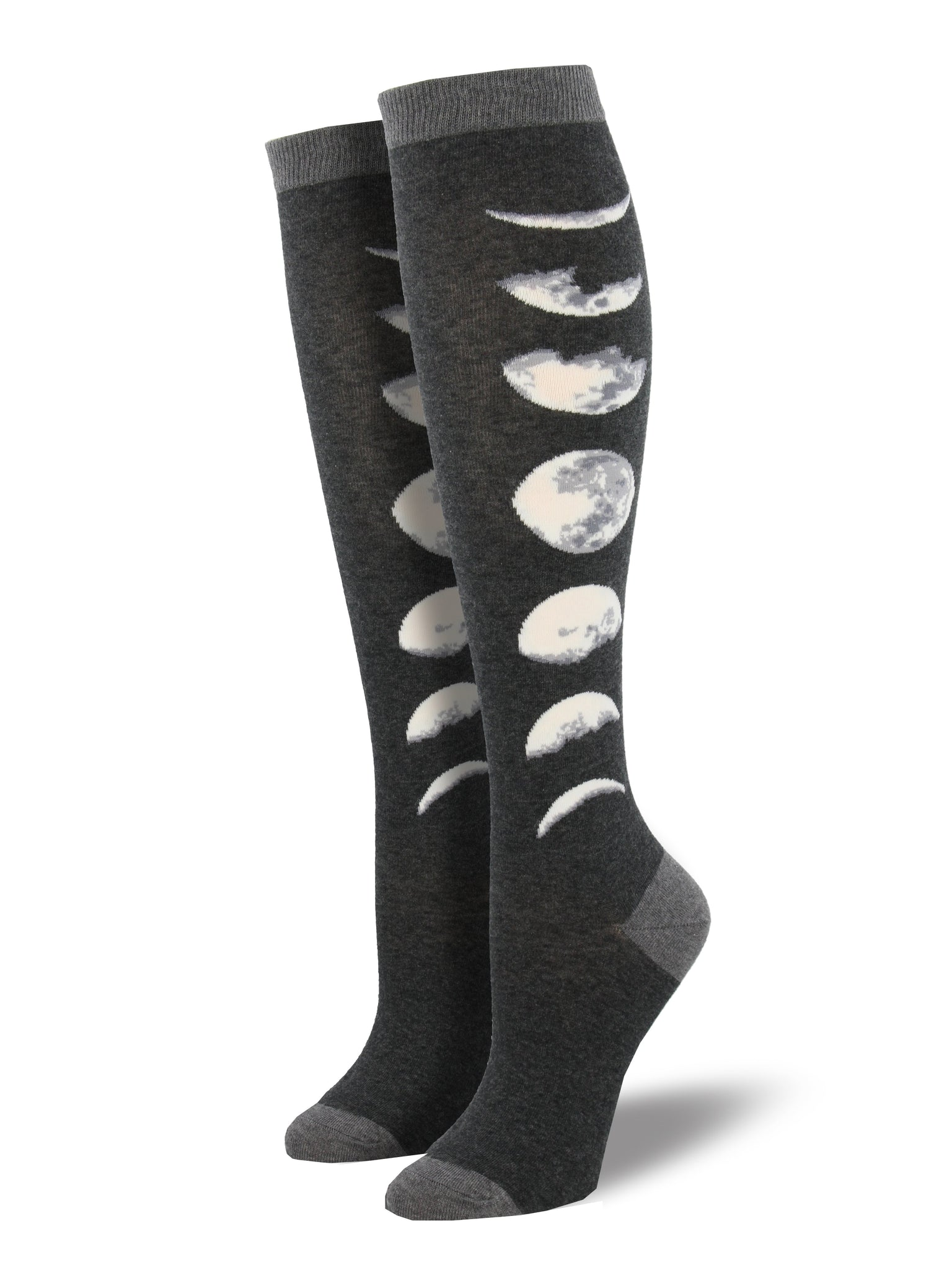 7b4615e7d Women s Phases Of The Moon Knee High Socks - Charcoal
