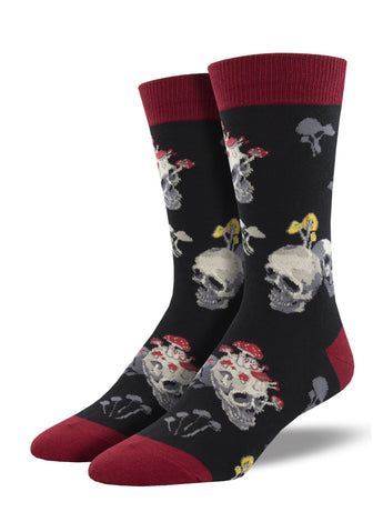 Men's Dress Socks - Skull and Mushrooms