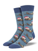 Santa Hat Otter Socks for Men - Shop Now | Socksmith