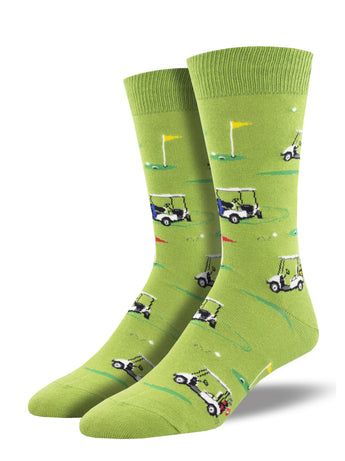 Men's Dress Socks - Golf Flag and Carts