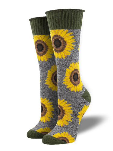 Recycled Wool - Sunflower Print Socks Made In USA | Socksmith