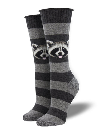 Recycled Wool - Raccoon Stripe Socks Made In USA | Socksmith