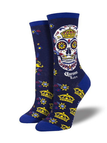 Sugar Skull Corona Beer Socks for Women - Shop Now | Socksmith