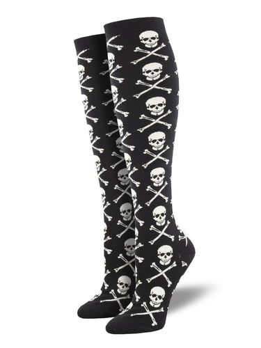 Skull and Crossbone Knee High Socks for Women - Shop Now | Socksmith