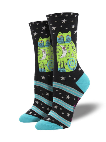 Women's Laurel Burch Socks - Celestial Moon Cat