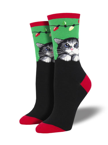 Christmas Lights Cat Socks for Women - Shop Now | Socksmith