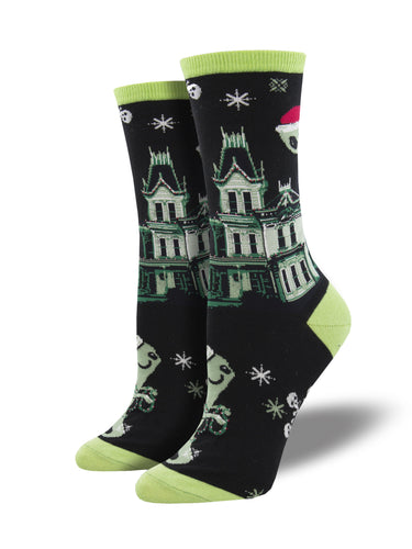 Haunted House Christmas and Halloween Novelty Socks for Women | Socksmith