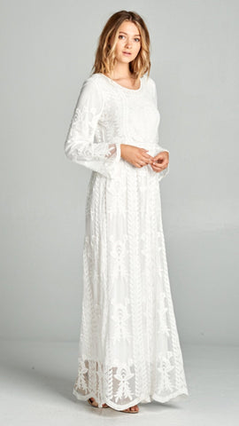 Caitlin-White Lace Dress/ Latter Day Saint Temple Dress. -Also Comes in Plus Size XS-XXL