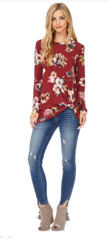 Long sleeve floral top featuring front knot detail